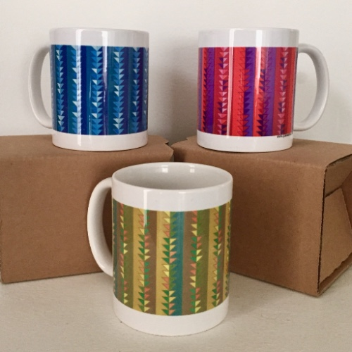 Three different color pattern ceramic mugs $15 each