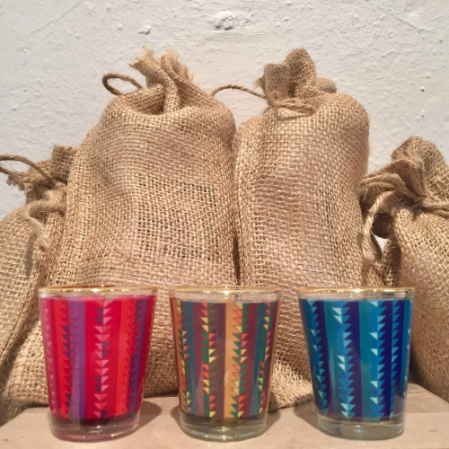 Set of 3 different color shot glasses in burlap gift bag $35 set.
